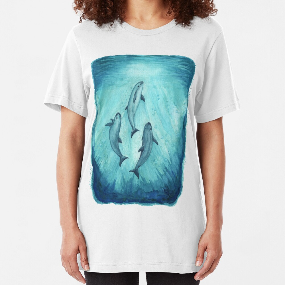 """Song of the Vaquita"" watercolor painting by Amber Marine ~ (Copyright 2015) ~ (Porpoise, Critically Endangered Species)    Slim Fit T-Shirt"