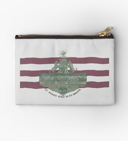 1912 Fort Worth Flag - We're For Smoke - All Roads Lead to Ft. Worth (Recolored) Zipper Pouch