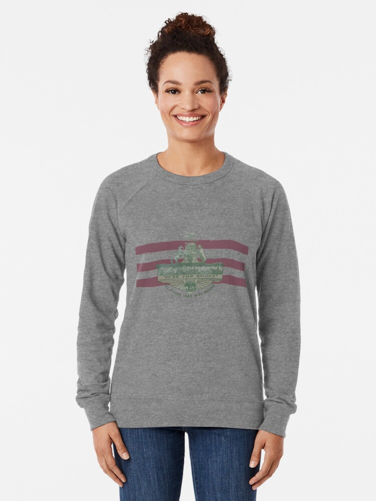 Alternate view of 1912 Fort Worth Flag - We're For Smoke - All Roads Lead to Ft. Worth (Recolored) Lightweight Sweatshirt