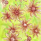 Red Ink Asters by astrongwater
