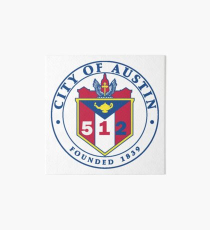 City of Austin Seal with 512 Area Code Art Board Print