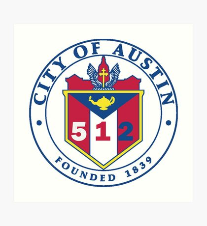 City of Austin Seal with 512 Area Code Art Print