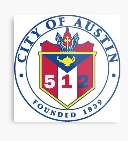 City of Austin Seal with 512 Area Code Metal Print
