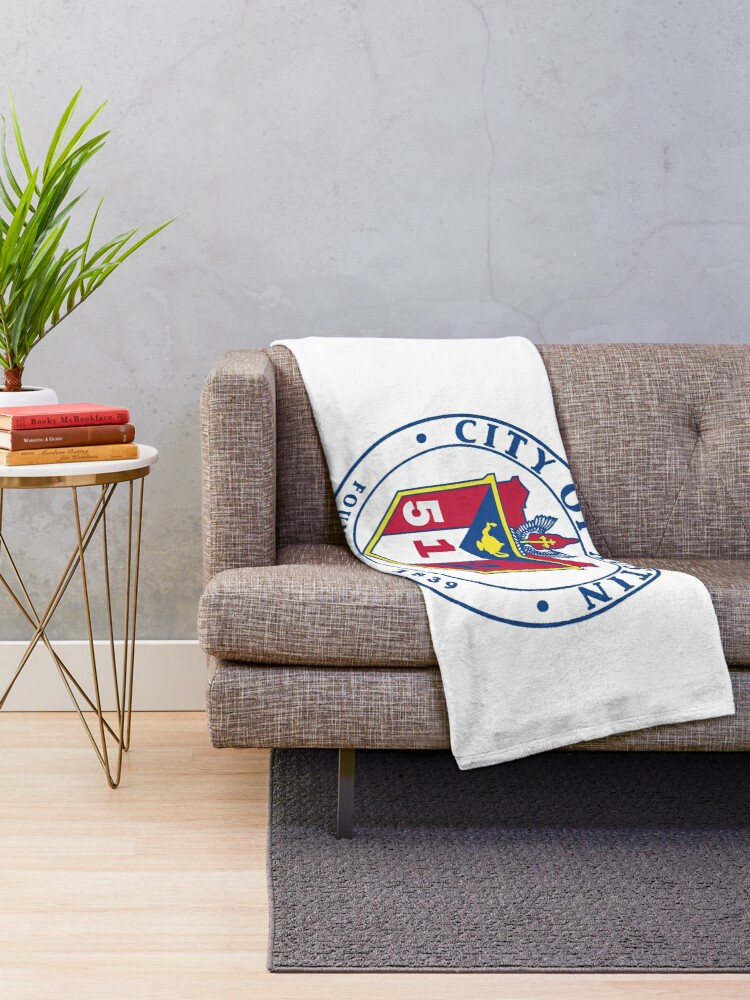 Alternate view of City of Austin Seal with 512 Area Code Throw Blanket