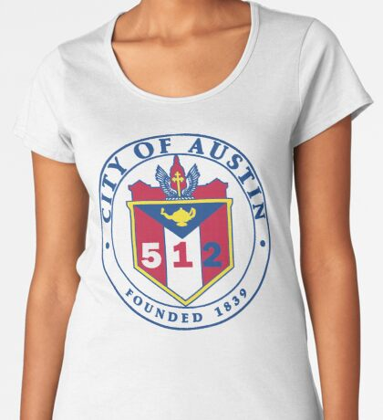City of Austin Seal with 512 Area Code Premium Scoop T-Shirt