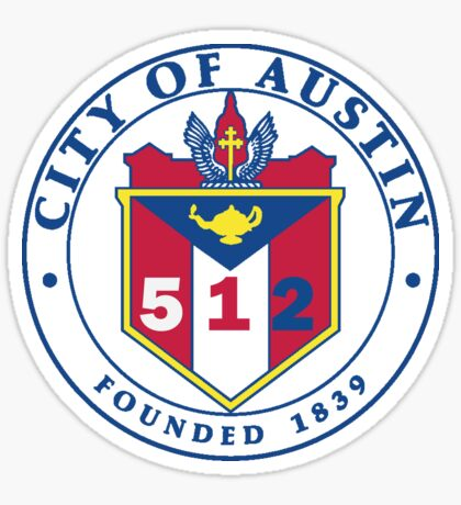 City of Austin Seal with 512 Area Code Sticker