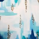 Shades of Blue Abstract Crystal Painting by AlexandraStr