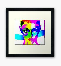 Colorful pop art image of a woman's face. Framed Print