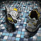 Running Shoes on Blue Tile Floor by minorsaint