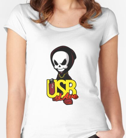 USB sLAve Fitted Scoop T-Shirt