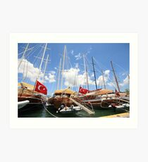 Seven Turkish flags, Bodrum, Turkey Art Print