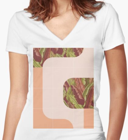 Mid-Century Tropical Mood #redbubble #tropical Fitted V-Neck T-Shirt