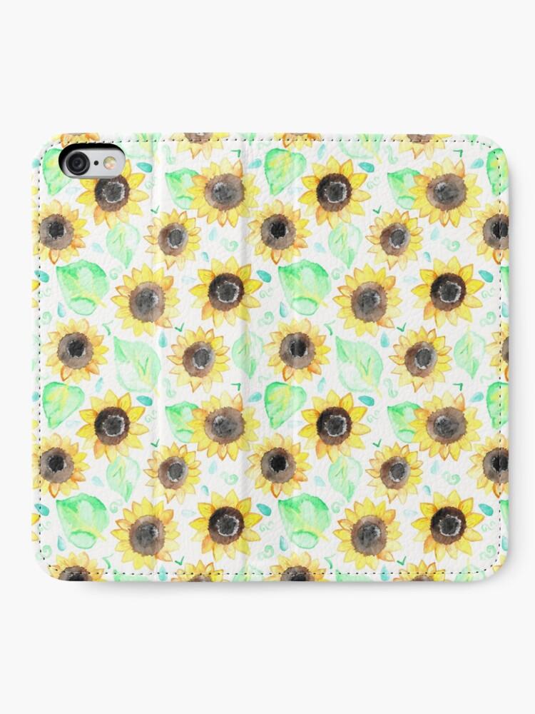 Alternative Ansicht von Fröhliche Aquarell Sonnenblumen iPhone Flip-Case
