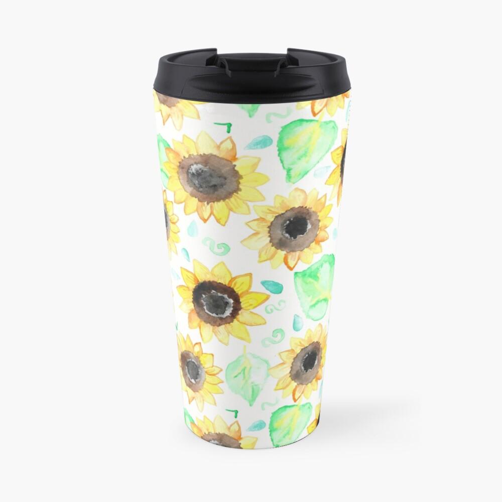 Fröhliche Aquarell Sonnenblumen Thermobecher