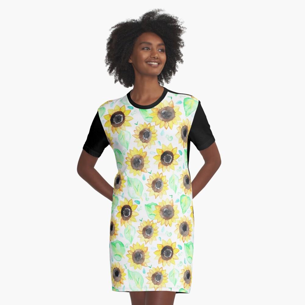Fröhliche Aquarell Sonnenblumen T-Shirt Kleid