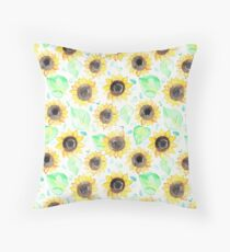 Fröhliche Aquarell Sonnenblumen Dekokissen