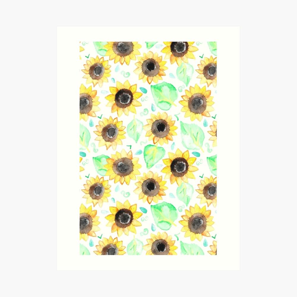 Fröhliche Aquarell Sonnenblumen Kunstdruck