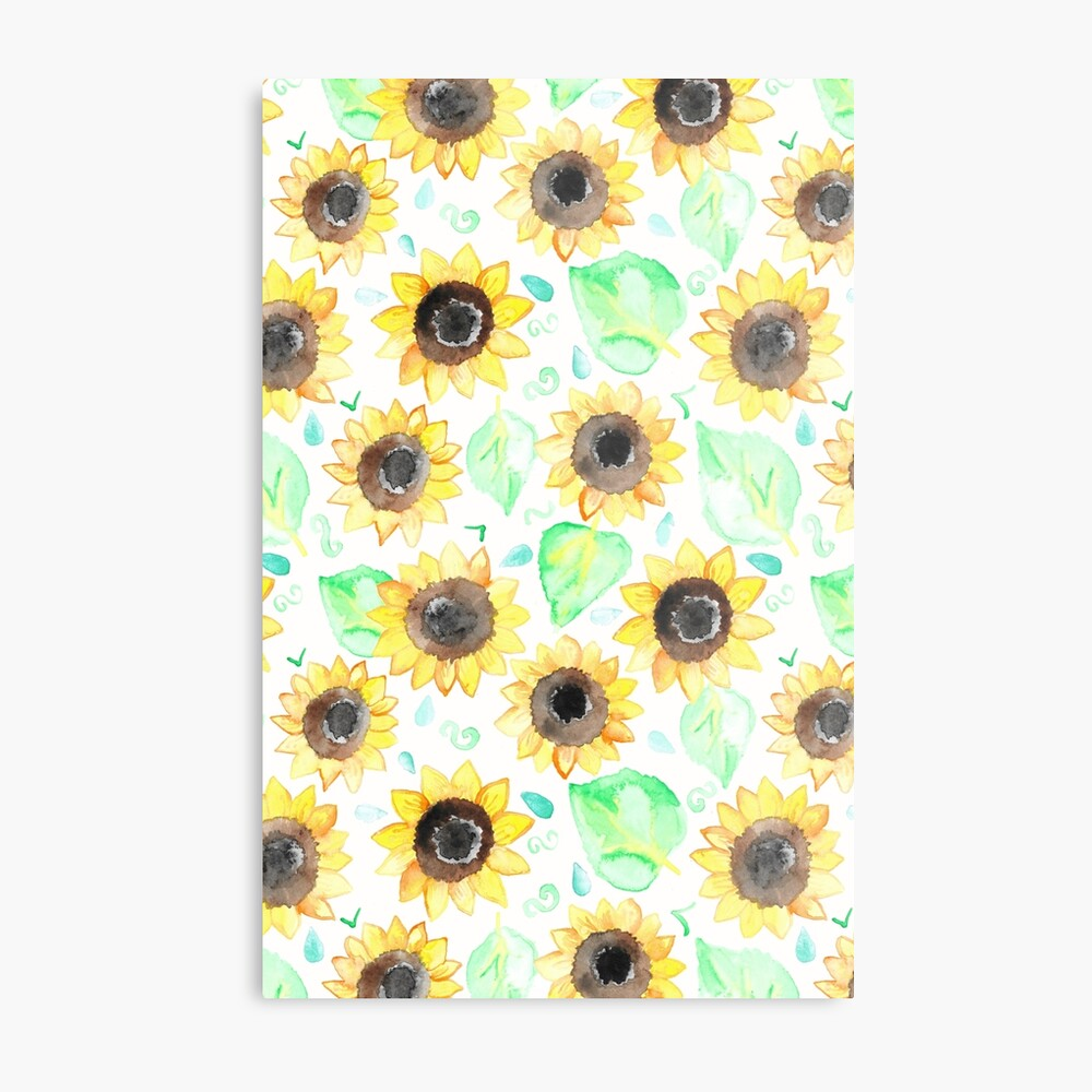 Fröhliche Aquarell Sonnenblumen Metallbild