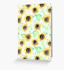 Fröhliche Aquarell Sonnenblumen Grußkarte