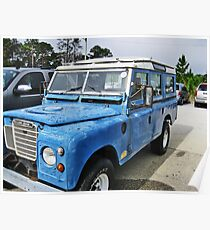 Land Rover On The Beach Poster