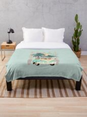Surfboards and  Blue and beige Van vw with palm trees Throw Blanket