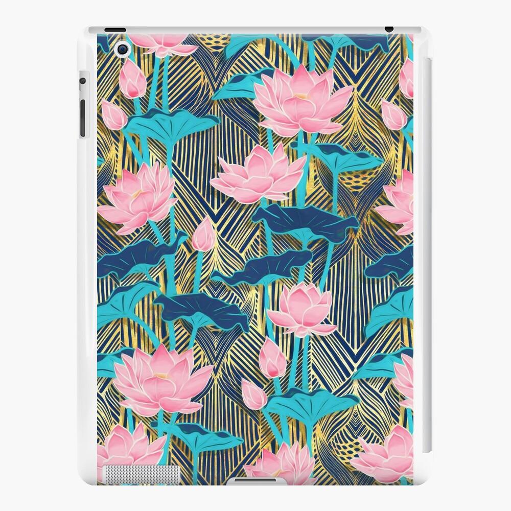Art Deco Lotus Flowers in Pink & Navy iPad Cases & Skins