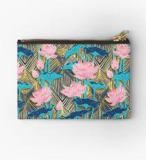 Art Deco Lotus Flowers in Pink & Navy Zipper Pouch