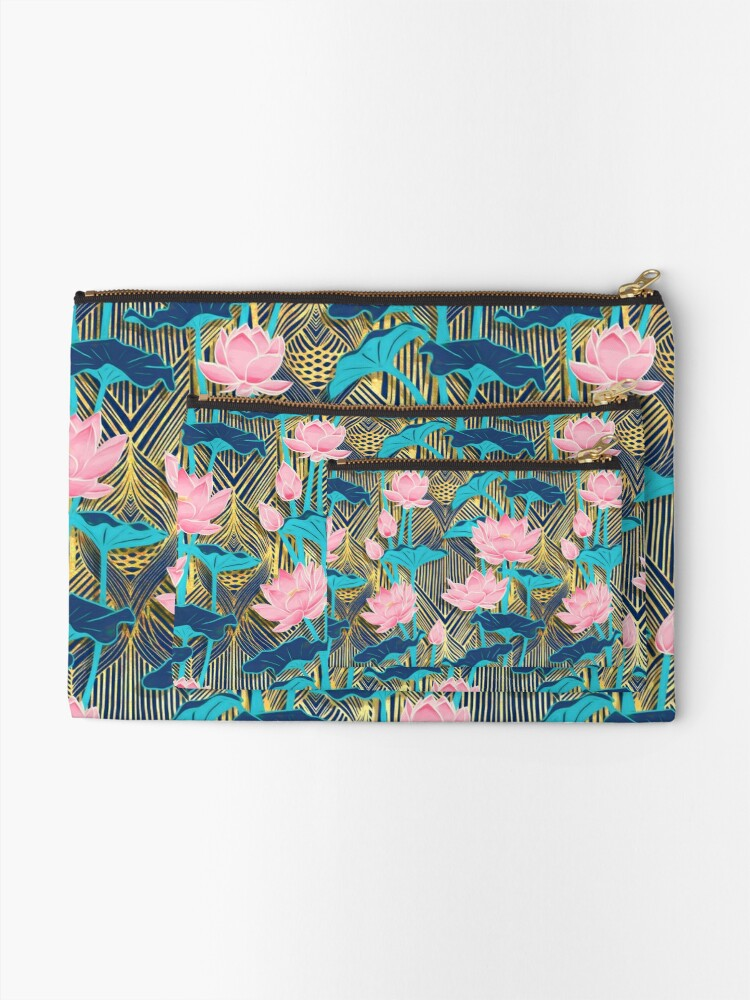 Alternate view of Art Deco Lotus Flowers in Pink & Navy Zipper Pouch