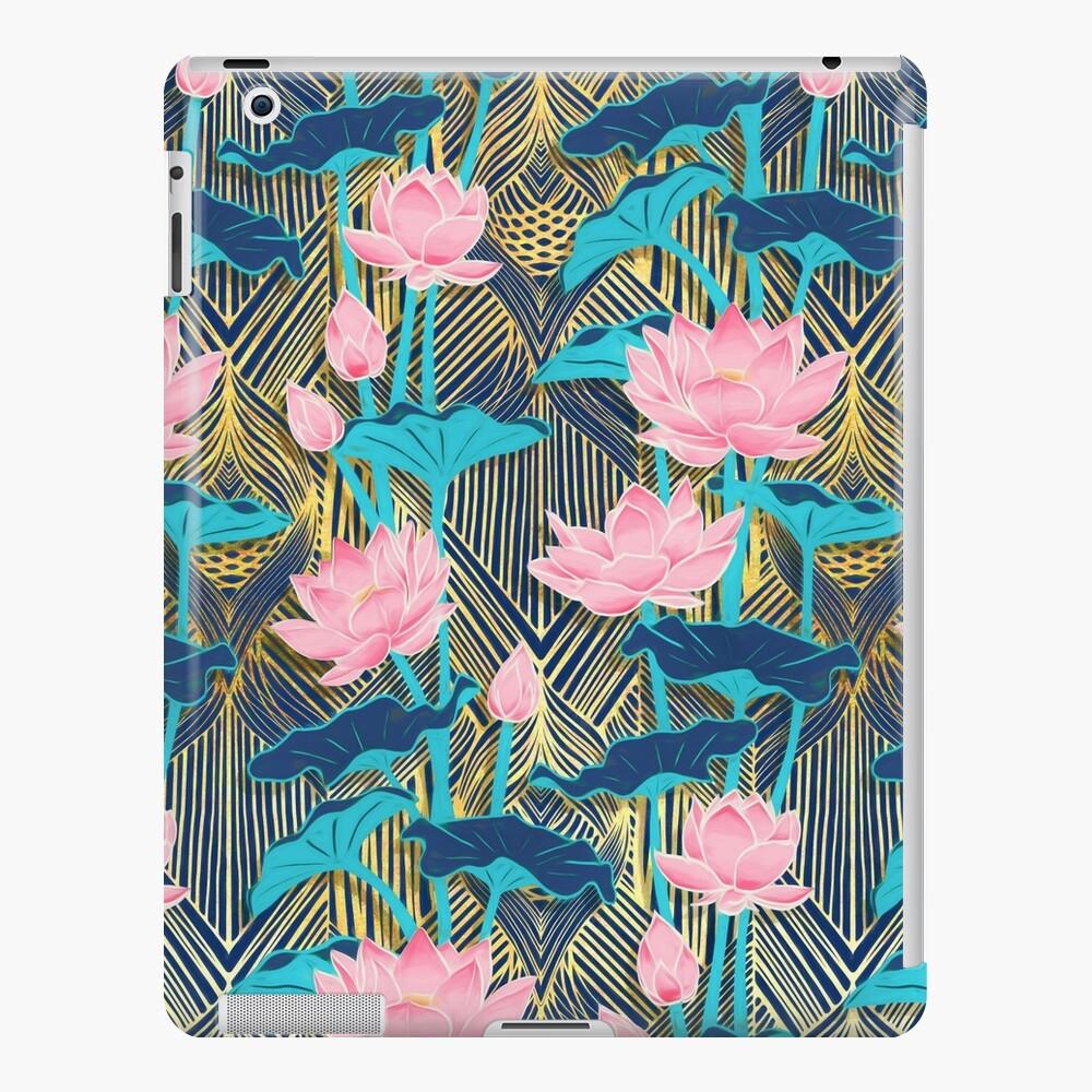 Art Deco Lotus Flowers in Pink & Navy iPad Case & Skin