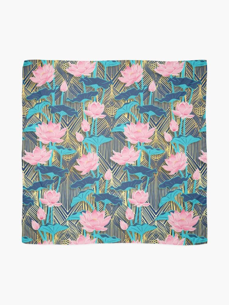 Alternate view of Art Deco Lotus Flowers in Pink & Navy Scarf