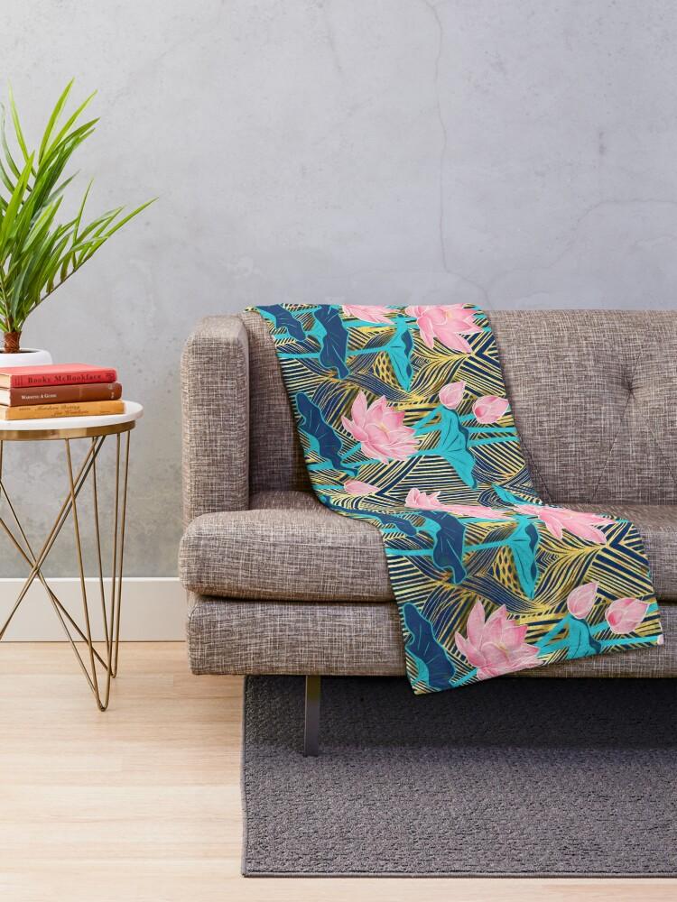 Alternate view of Art Deco Lotus Flowers in Pink & Navy Throw Blanket