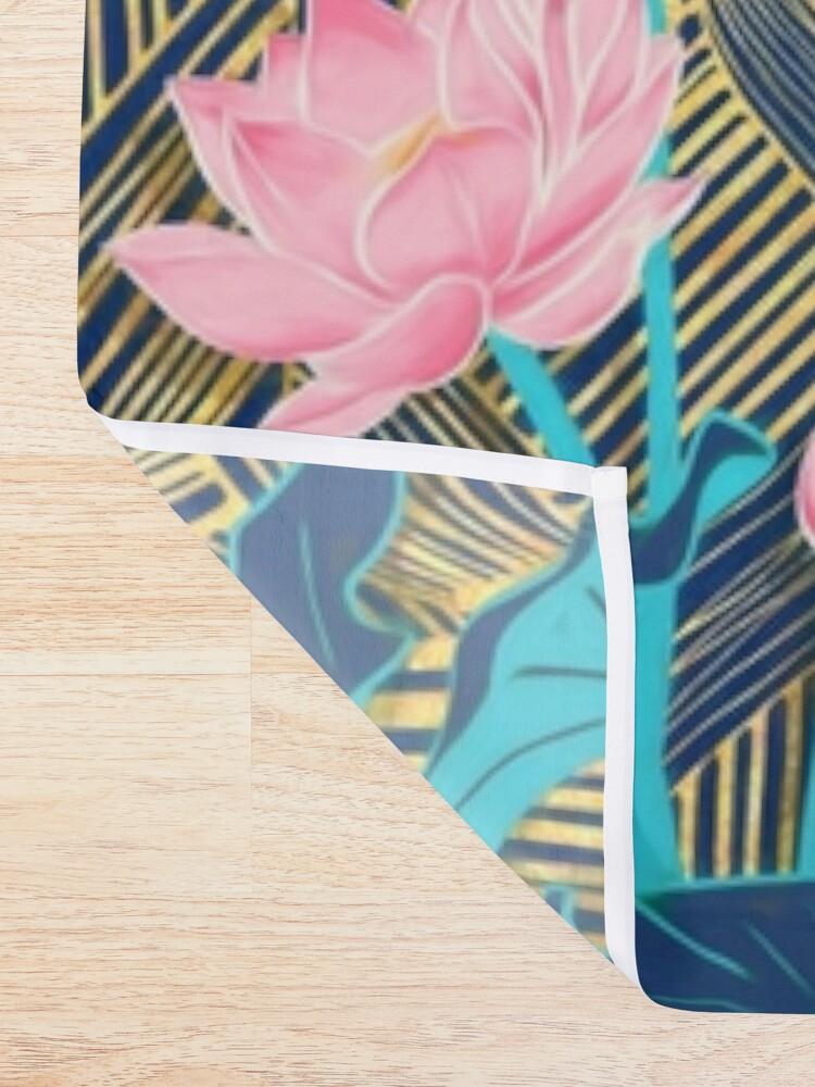 Alternate view of Art Deco Lotus Flowers in Pink & Navy Shower Curtain