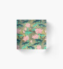 Art Deco Lotus Flowers in Pfirsich & Smaragd Acrylblock