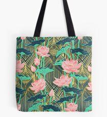 Art Deco Lotus Flowers in Pfirsich & Smaragd Tote Bag