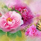 Peonies & Butterfly by Morag Bates