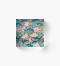 Art Deco Lotus Blumen in Pink & Navy Acrylblock