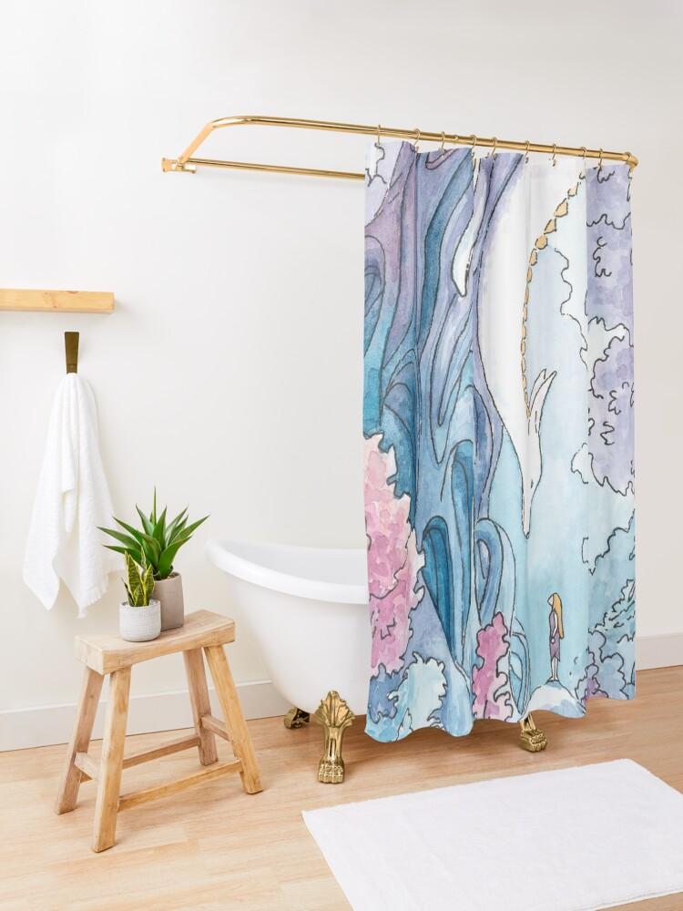 Alternate view of The Albino FoxDragon Shower Curtain
