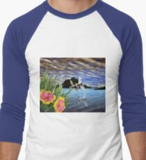 Doves and Hibiscus Flowers on a Tropical Island Men's Baseball ¾ T-Shirt