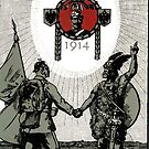 WWI 1914 poster ...Kaiser Wilhelm II with Warriors by edsimoneit
