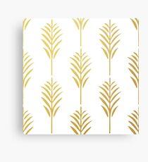 Goldene Palmblätter auf Weiß Metallbild