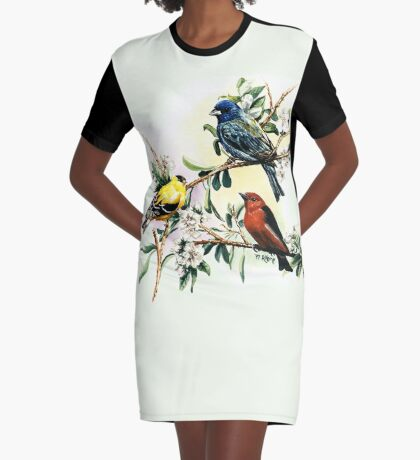 Songbirds - goldfinch, indigo bunting and scarlet tanager Graphic T-Shirt Dress