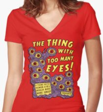 Too Many Eyes Women's Fitted V-Neck T-Shirt
