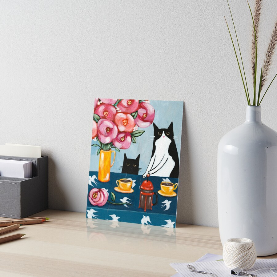 French Press Coffee Cats Art Board Print
