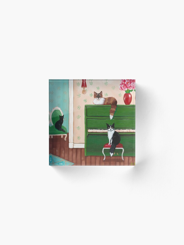 Alternate view of Cats and the Green Piano Acrylic Block
