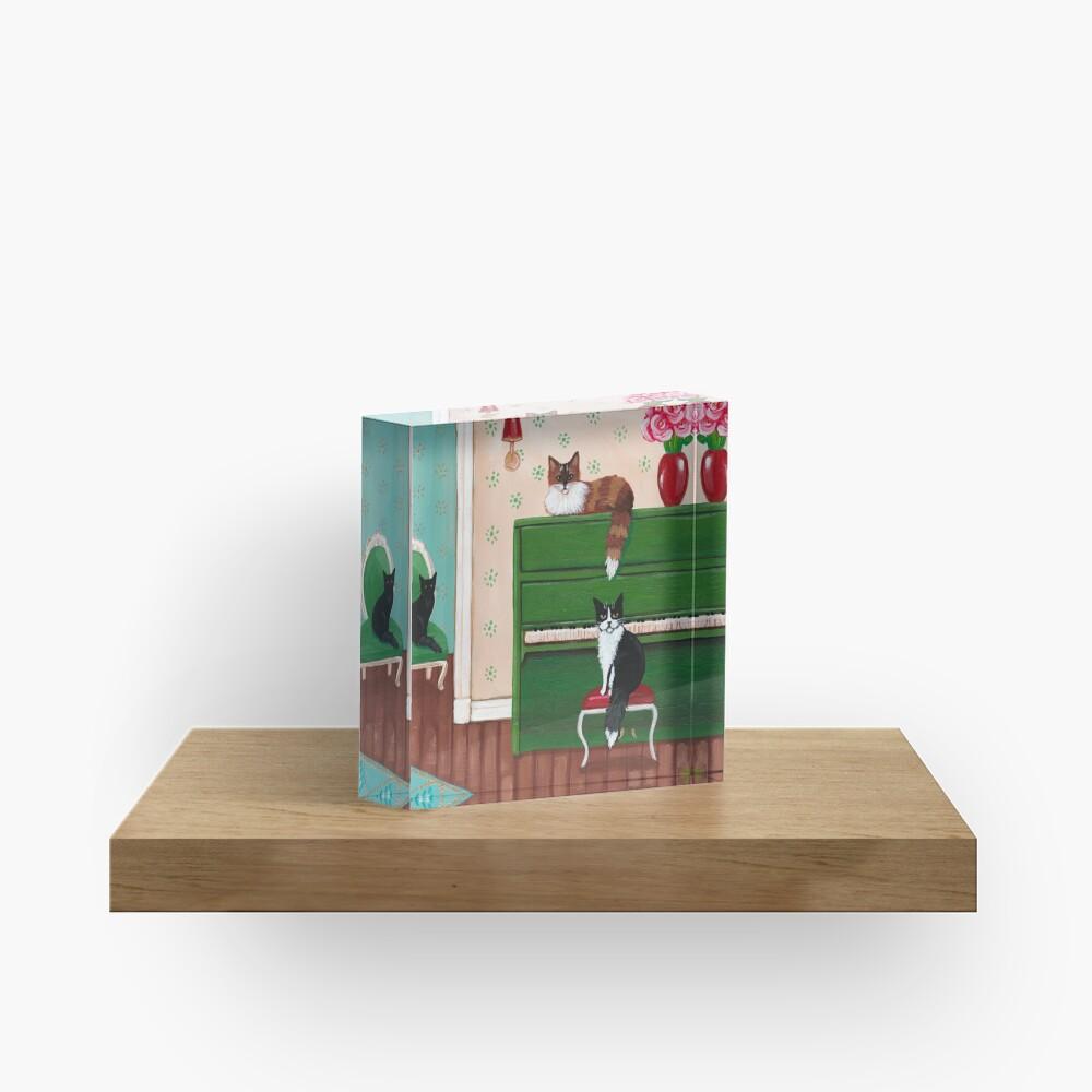 Cats and the Green Piano Acrylic Block