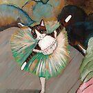 Dancer Tilting Brown Tabby Ballerina Cat by Ryan Conners