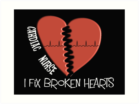 cardiac nurse fixes broken hearts art prints by gail gabel llc