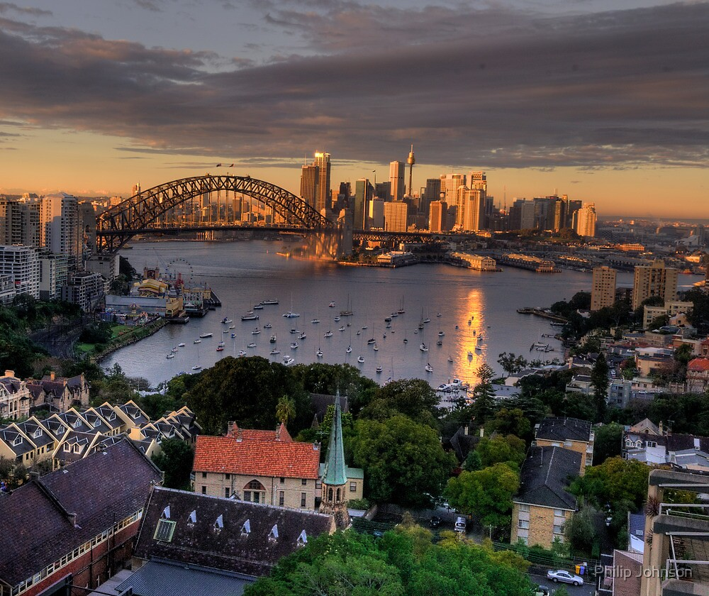 Kissed  # 2 - Sydney Harbour, Sydney Australia (30 Exposure HDR Panorama)- The HDR Experience by Philip Johnson