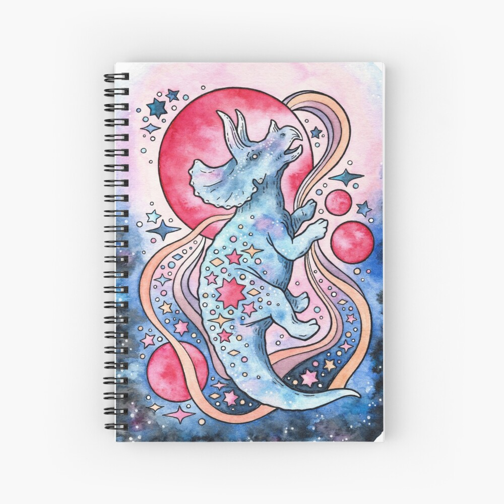 Star Tricera | Cosmic Dinosaur Watercolor Spiral Notebook