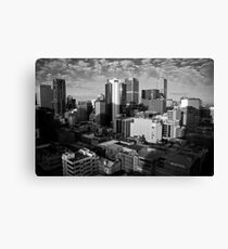 Melbourne Skyline Sunrise - Black & White Canvas Print